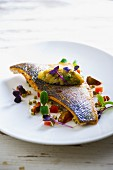 Porgy with vegetables and cress