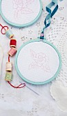 Embroidery utensils for a nostalgic children's birthday party in the garden