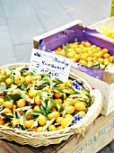 Kumquats in a crate and in a basket at a market in Italy