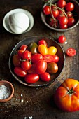 Assorted tomatoes, mozzarella and salt