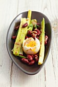 Kidney bean salad with leek, soft-boiled egg and mustard dressing