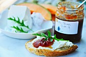 Bread with cream cheese and cherry & chilli jam