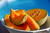 Cantaloupe melon, partly slices