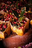Mango and chocolate cakes with pomegranate seeds