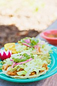 Tostadas with white cabbage and salsa