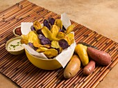 Mixed Fingerling Potatoes - Raw and a Bowl of Chips