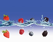 Berries Falling into Water
