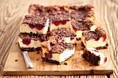 Cheesecake with chocolate and sour cherries