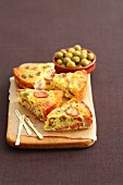 Frittata with sausage and olives