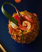 Pineapple filled with prawns