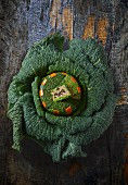 Savoy cabbage stuffed with goose liver