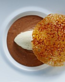 Chestnut mousse with vanilla ice cream