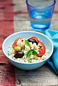 Couscous with olives, tomatoes and peppermint
