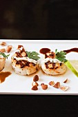 Grilled Scallops with a Yogurt Sauce, Almonds and Lime