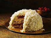 Snow bombe christmas dessert with white chocolate decoration
