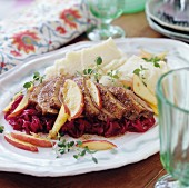 Roast pork with apple & red cabbage medley and mashed potato