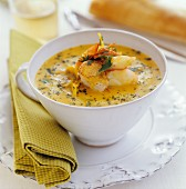 Fish soup with herbs and carrots