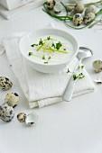 Radish soup with asparagus