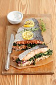Baked salmon with spinach stuffing