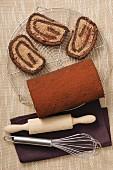 A chocolate Swiss roll
