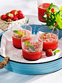 Strawberry drinks with mint and lime