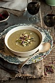 Broccoli soup and red wine
