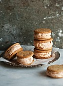 Several ice cream sandwiches (biscuits with ice cream)