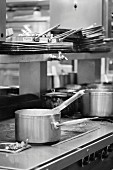 Black and White Commercial Kitchen Scene