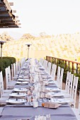 Outdoor Table Set for a Wedding at a Winery