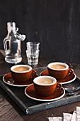 Three cups of espresso