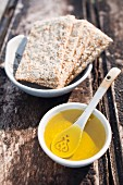 Olive oil with sesame crackers