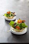 Salad in parmesan baskets
