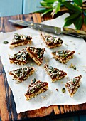 Wholegrain & date slices with pumpkin seeds