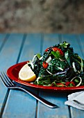 Kale salad with chilli and garlic