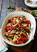 Pasta with oven-roasted tomatoes and parsley