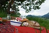 Picknick vor prachtvoller Berglandschaft