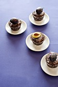 Chocolate muffins with fresh plums