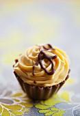 A chocolate and caramel praline