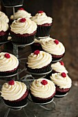 Red Velvet cupcakes on a tiered cake stand