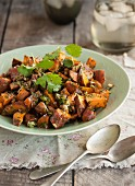 Sweet potato salad with coriander leaves