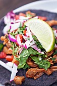 A taco with jackfruit, lettuce, radishes, coriander and lime