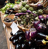 Aubergines and artichokes at the market