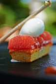 Financier cake with grapefruit and ice cream