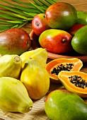 Fresh mangos and papayas