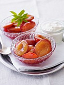 Plum compote with cream