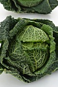 A fresh savoy cabbage, viewed from above