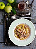 Pork and apple stew with beer