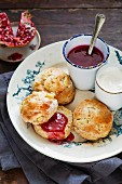 Apple scones with pomegranate jam