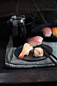 Nigiri sushi with prawns, crab and tuna