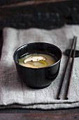Miso soup with matsutake mushrooms (Japan)